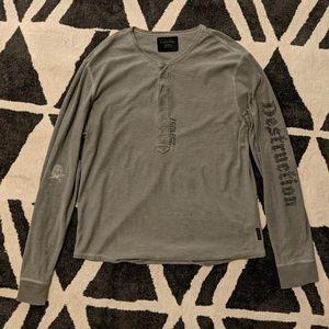 """Calvin Klein """"destruction"""" Henley shirt"""